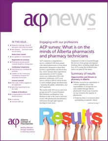 Alberta College of Pharmacists ACP news newsletter spring 2016 cover